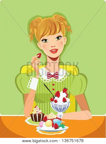 girl on green background eating sweet dessert, cake and cream