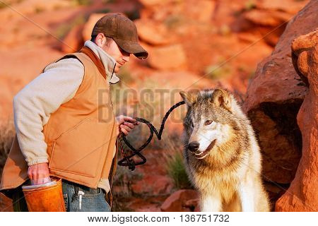 ARIZONA, USA - APRIL 16: Unidentified man - animal trainer sits with gray wolf on April 16, 2007 in Arizona, USA. The gray wolf is one of the world's best known and well researched animals