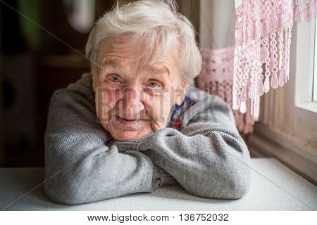 Closeup portrait of an elderly woman.