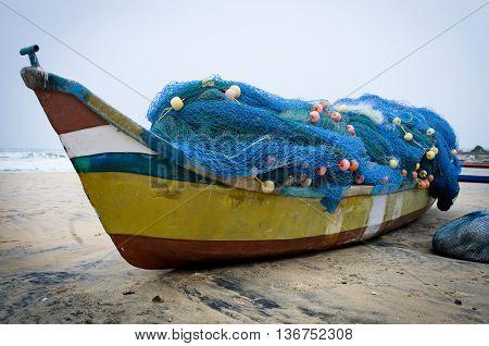 Fishing Boats Beached Along The Coast  In Mamallapuram, Tamil Nadu, India