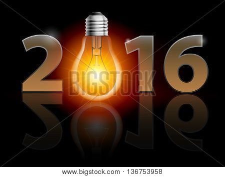 New Year 2016: metal numerals with bulb instead of zero having weak reflection