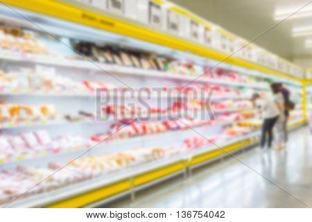 blur people shop at supermarket - Department store