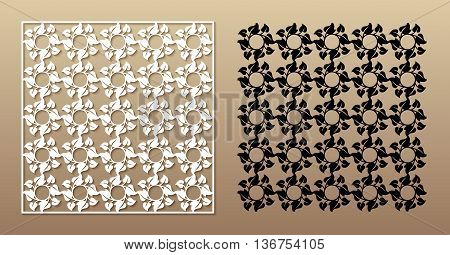 Openwork square panel with floral pattern. Vector pattern for laser cutting of decorative elements.