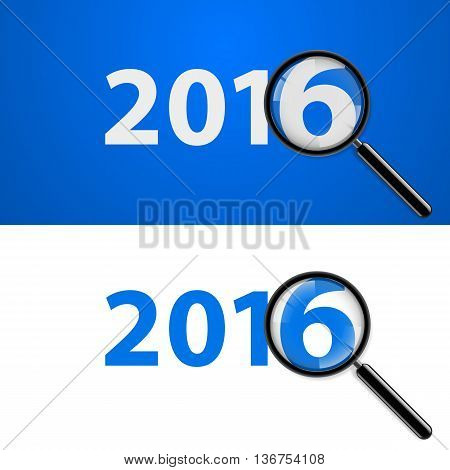 Numerals 2016 with magnifying glass in white and blue