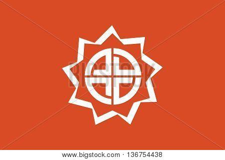 Japan Fukushima prefecture Fukushima city flag illustration