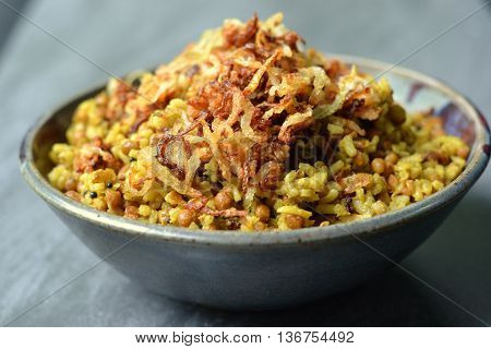 Mejadra: A traditional dish from Middle Eastern Cuisine using lentils, rice and onions