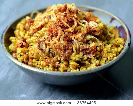 Mejadra: A traditional food from the middle east made with lentils,rice, spices and crispy fried onions.