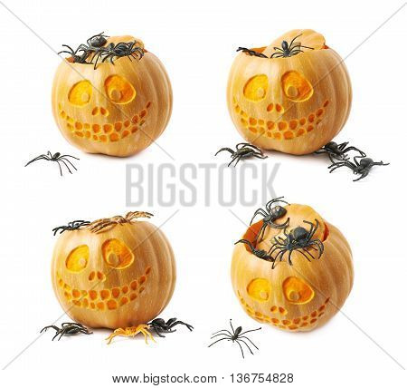 Smiling Jack-O-Lantern pumpkin filled with toy spiders, composition isolated over the white background, set of four different foreshortenings