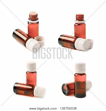 Small red glass flask vial, composition isolated over the white background, set of four different foreshortenings