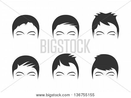 Men's hairstyles isolated on background. Vector illustration.