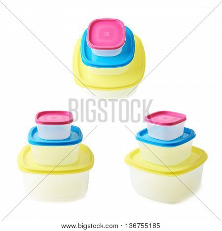 Pyramid pile of colorful plastic food containers, composition isolated over the white background, set collection of three different foreshortenings