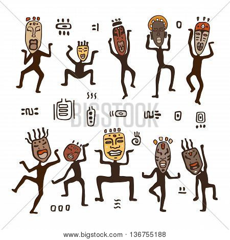 Dancing figures in African masks. Primitive art. Vector illustration.