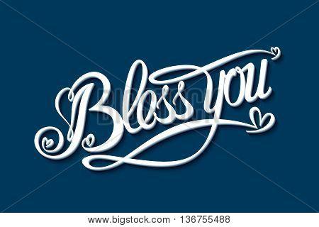 Bless you inscription. Vector illustration eps 10
