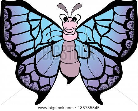 Funny smiling butterfly with open wings. Vector illustration