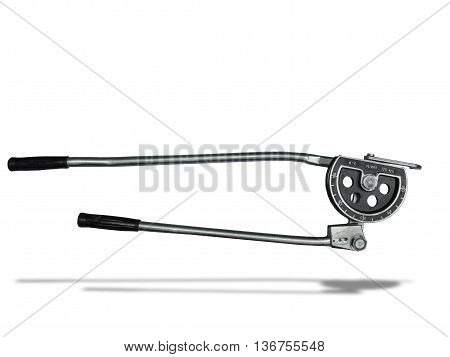 metal pipe bending equipment lsolated on white background