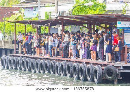 BANGKOK - MAY 22 2016: Harbor Ramkhamhaeng Saen-Saeb canal People in a boat. Bangkok
