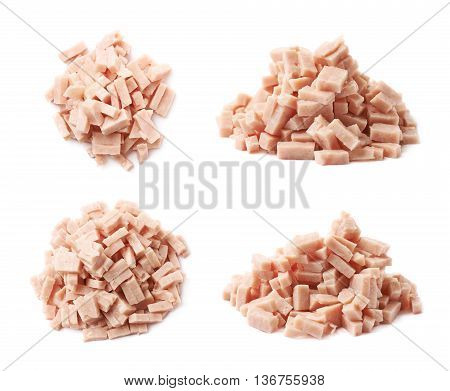 Pile of shredded pizza ham topping isolated over the white background