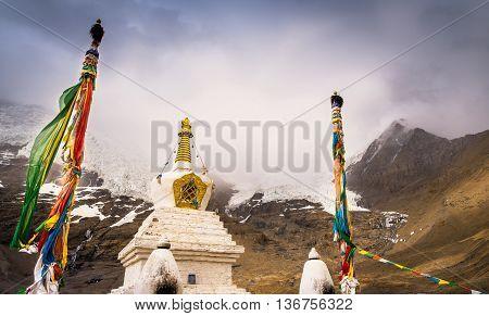 A stupa at Silima mountain scenic area.