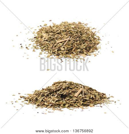 Pile of dry mate tea leaves isolated over the white background, set of two different foreshortenings