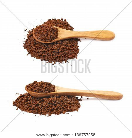 Pile of instant coffee grains with the wooden spoon over it, composition isolated over the white background, set of two different foreshortenings