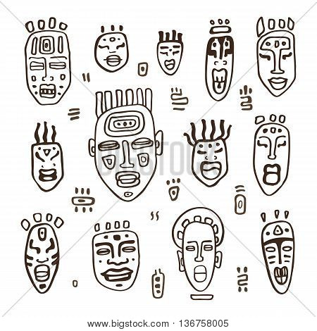 Set of African masks. Tribal masks on white background. Vector illustration isolated on white background.