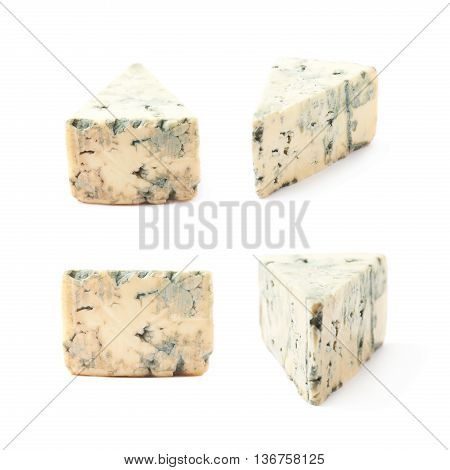 Blue roquefort cheese isolated over the white background, set of four different foreshortenings