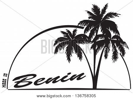 Made in Benin - the stamp imprint with a palm tree.