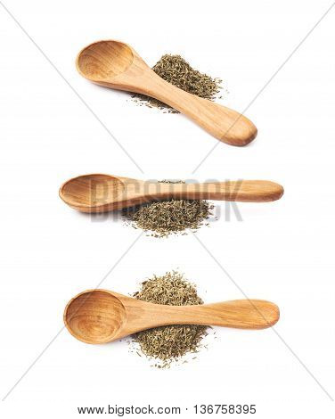 Wooden spoon over the pile of dried thyme seasoning isolated over the white background, set of three different foreshortenings