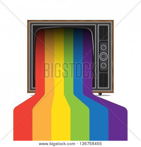 retro style tv with pride rainbow. Color paint flows from screen.
