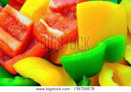 Many pieces of sliced colorful bel peppers