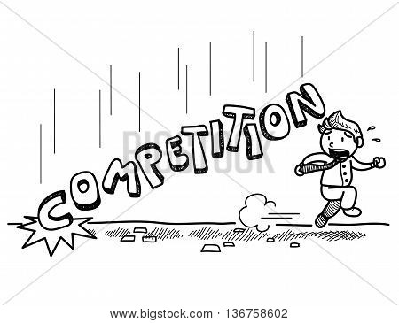 Business Competition Doodle, a hand drawn vector doodle illustration of businessman almost got crushed by the competition.