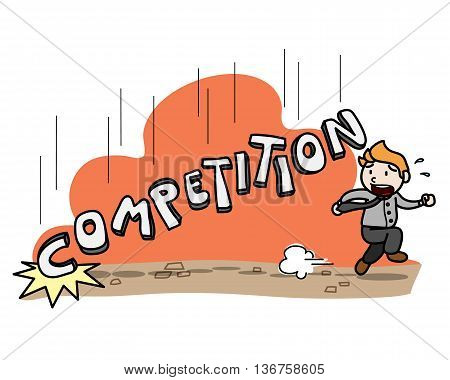 Business Competition, a hand drawn vector illustration of businessman almost got crushed by the competition.