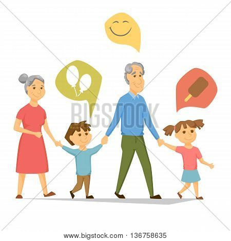 Grandparents with grandchildren walking. Old people have leisure with children. Grandma and Grandpa hold hands girl and a boy. Seniors activity. Joint generations walk. Ice cream, smile, balloon icon