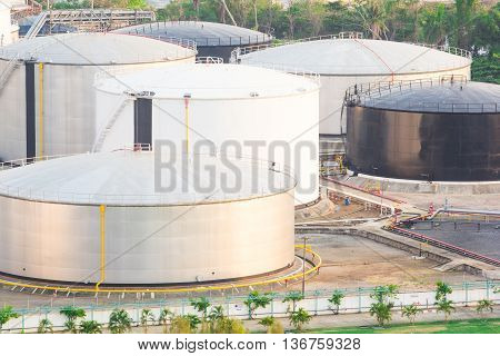 oil storage tank in petrochemical plant in the port