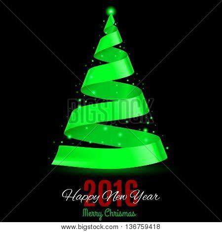 Green ribbon Christmas tree on black background. Greeting card Twenty-Sixteen