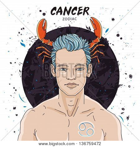 Portrait of a handsome young man. Astrological horoscope sign Cancer. The guy with claws of cancer on the head. Vector illustration on white background. Concept zodiac sign. Great gift card.