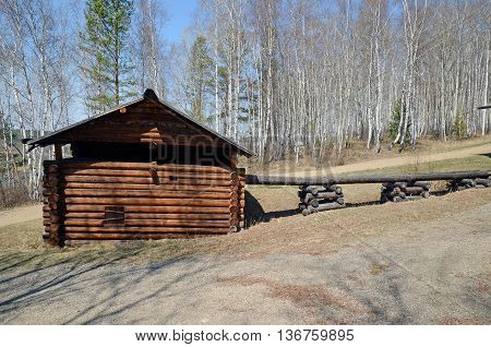 Irkutsk regionRU-May10 2015: The fragment of Water mills Cascade middle of the XIX century in Museum of Wooden Architecture Taltsy
