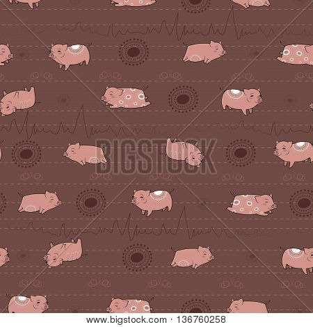 Happy pink piggies with white patterns and brown background. Seamless Pattern