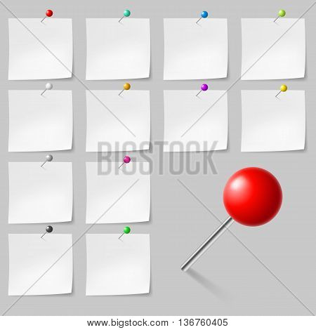 Set of Blank sticky notes with pushpins