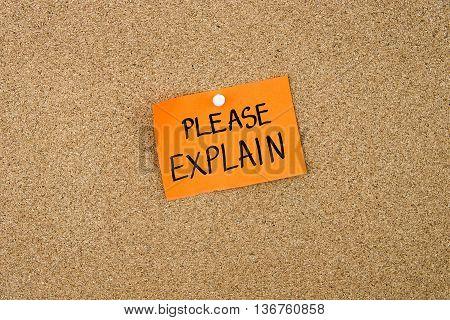 Please Explain Written On Orange Paper Note
