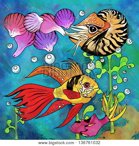 Fishes in aquarium. Bright colorful watercolor illustration.