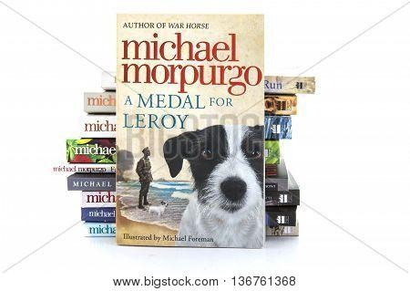 SWINDON UK - JULY 11 2016: A Medal for Leroy by Michael Morpurgo on awhite background