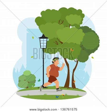 Fat man feeling tired to jogging in park. obese man running in the park and sweating to lose weight. vector