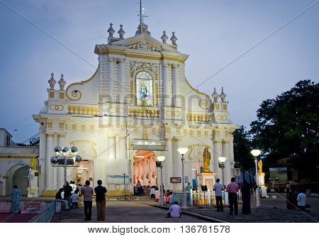 PONDICHERRY INDIA - OCT 12 2014: Immaculate Conception Cathedral is the cathedral mother church for the Roman Catholic Archdiocese of Pondicherry and Cuddalore.