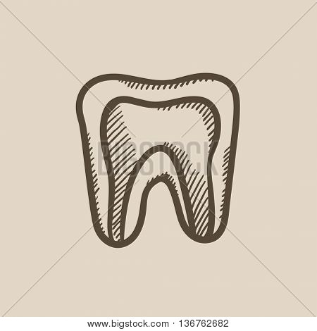 Molar tooth vector sketch icon isolated on background. Hand drawn Molar tooth icon. Molar tooth sketch icon for infographic, website or app.
