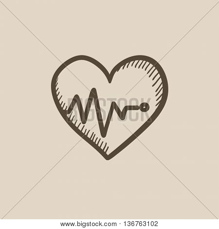 Heart with cardiogram vector sketch icon isolated on background. Hand drawn Heart with cardiogram icon. Heart with cardiogram sketch icon for infographic, website or app.