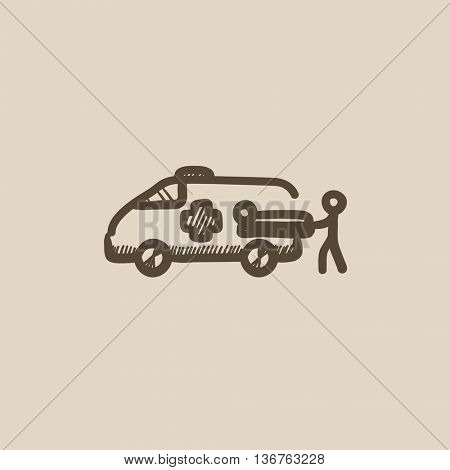 Man pushing stretcher with patient in ambulance car vector sketch icon isolated on background. Hand drawn ambulance car icon. Ambulance car and patient sketch icon for infographic, website or app.
