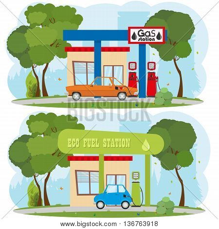 Energy and Gas Station. Urban landscape. Ecology. the car is recharged at the petrol filling. the car is recharged at an eco refueling. vector