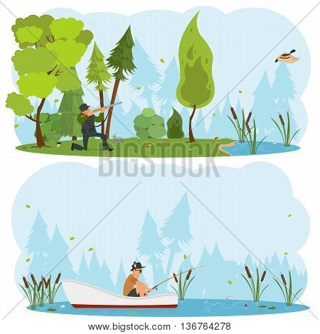 Vector isolated scenes of nature. Men hunt and fish in the wild.