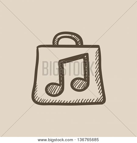 Bag with music note vector sketch icon isolated on background. Hand drawn Bag with music note icon. Bag with music note sketch icon for infographic, website or app.